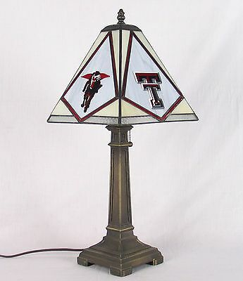 Stained Glass Texas Tech University Red Raiders Mission Desk Lamp Office