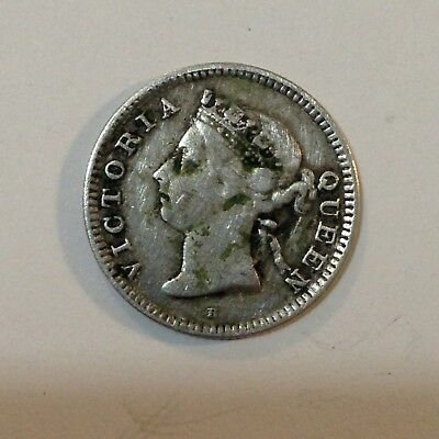 1890-H Straits Settlements (Malaysia), Nickel/5 Cents Silver Coin, *Low Mintage*