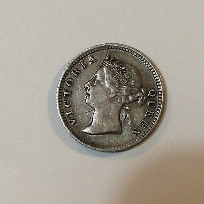 1897 Straits Settlements (Malaysia), Nickel/5 Cents Silver Coin, *Low Mintage*