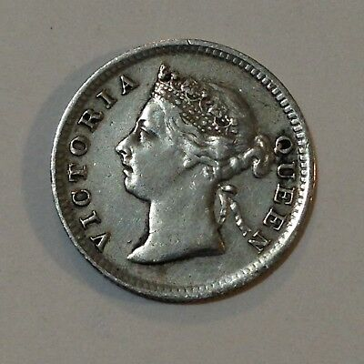 1896 Straits Settlements (Malaysia), Nickel/5 Cents Silver Coin, *Low Mintage*
