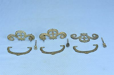 Antique SET of 3 VICTORIAN PIERCED CAST BRASS DRAWER HANDLE PULL HARDWARE #03622