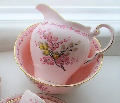 `april Beauty` Tuscan China Sugar Bowl & Milk Jug -Spring Blossom & Pussy Willow