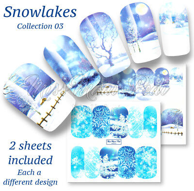 Snowflakes Nail Wraps Water Decals Snow Stickers Winter Nails A1187 Multipack