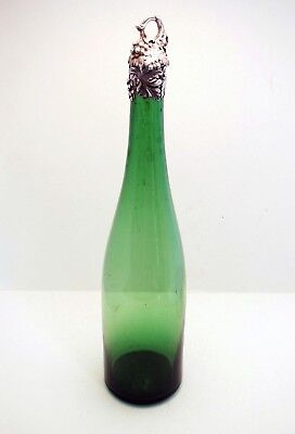 Rare Antique Solid Sterling Silver English Glass Wine Bottle Decanter Victorian