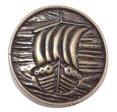 Viking Longship Boat Travel Protection Brass Plated Pewter Rivet Concho