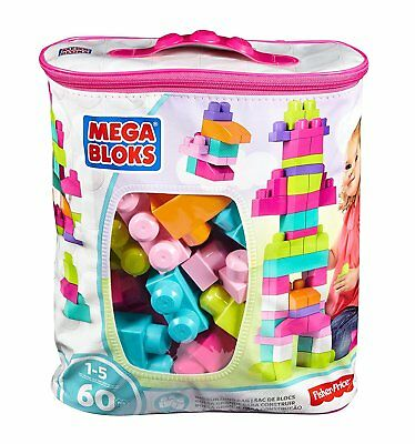 Mega Bloks Buildable Bag 60 Pieces Toy Bricks Blocks For Baby Girl New