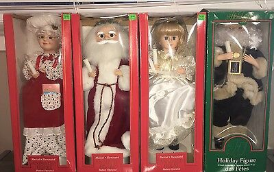 Lot Of 4 Christmas Musical Illuminated Animated Figures Santa, Mrs. Claus, Angel