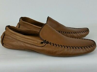24e1b1224dd Steve Madden Vicius Men s 13 Driving Loafers Brown Leather Moc Toe Casual  Shoes