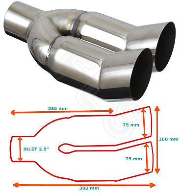 """Universal Stainless Steel Exhaust Tailpipe 2.5"""" In Single Yfx-0007  Tyt4"""