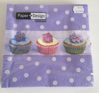 5packs of 20 Lunch Paper Napkins. Cup Cakes on Purple Polkadot. 33x33cm. 3ply