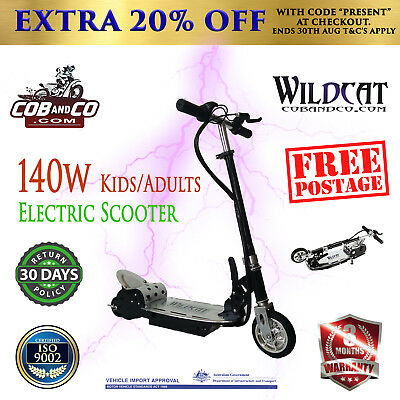 Wildcat Electric Scooter 140W Adjustable and Foldable for Adults and Kids