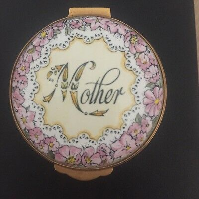 English bone china trinket/pill box, pink floral design for Mother