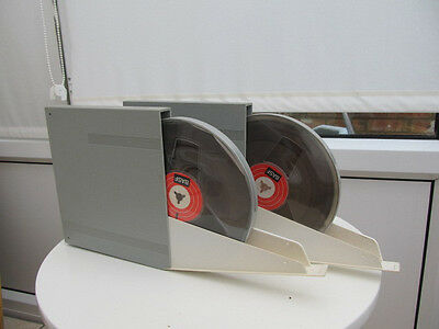 "Two 7"" 'Reel Recording Tape (BASF) In Plastic Circular Case + Library Box"