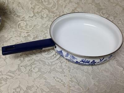 Vintage, Heritage Mint, Blue Willow, Enamelware Skillet 15in L x 9.5in D x 2.5in