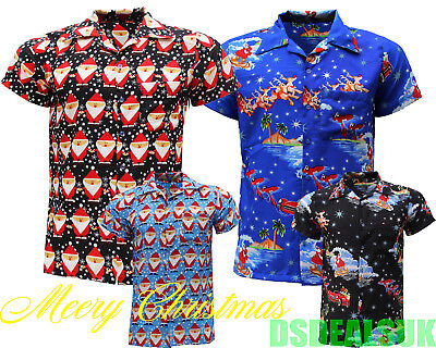 MENS CHRISTMAS SHIRT SHIRTS SANTA XMAS HAWAIIAN HAWAII FANCY DRES STAG S-5xl