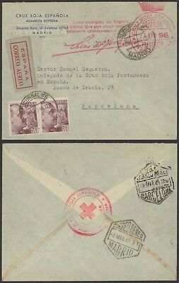 Spain 1945 - Air mail cover Madrid to Barcelona - Red Cross 24340