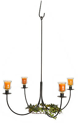 LARGE 4 ARM WROUGHT IRON CANDLE CHANDELIER Amish Handmade Country Candelabra USA