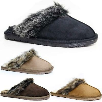 Ladies Slippers Women New Faux Suede Warm Comfort Fur Winter Mules Shoes Size