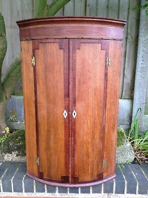 Georgian Mahogany Bow Fronted Corner Cupboard Old Antique Cabinet