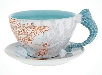 Disney Parks The Little Mermaid Ariel Nautical Teacup and Saucer Set New