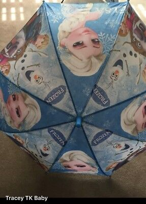 💕Disney FROZEN Pink &Blue Rain Umbrella Brand New With Whistle 💙lovely 🎁 Gift