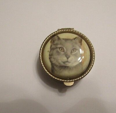 Small Metal Cat Pill or Trinket Box Pot with Hinged Lid