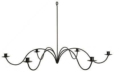 LARGE 6 WAVE ARM WROUGHT IRON CANDLE CHANDELIER Handmade Country Candelabra USA