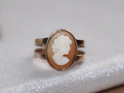 RARE Fine VICTORIAN 10 k Yellow GOLD Carved Shell CAMEO Double Band RING sz 7