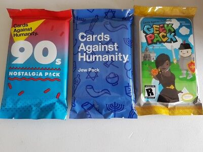 Cards Against Humanity Expansion Pack Bundle Jew Pack Geek 90's Nostalgia 3 PACK