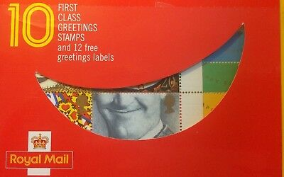 1990 10 First Class Greetings Stamps Booklet Inc 12 Free Greetings Labels