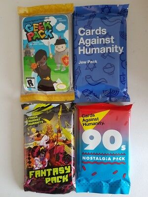 Cards Against Humanity Expansion Pack Bundle Jew Pack Geek 90's Fantasy 4 PACK