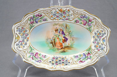 Schumann Dresden Reticulated Courting Couple Colored Background Relish Dish