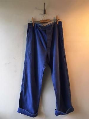 "True Vintage French Blue Bleu de Travail Chore Workwear Trousers 34"" 35"""
