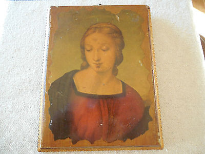 Wooden Florentine Gilt Edged Madonna Wooden Plaque