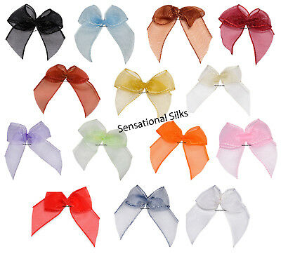 ** Pack of 12 Self Adhesive Organza Bows Wedding Favour Box Craft Decoration