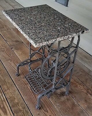 Treadle Sewing Machine Cast Iron Table with Granite Top Polished