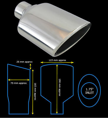 Universal T304 Stainless Steel Exhaust Tailpipe Tip Single Oval Yfx-0286A  Bee3