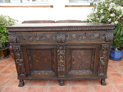 Country Oak  Marquetry Inlaid Heavily Carved Cupboard 1780 Free Shipping England