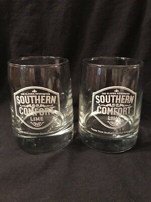 Southern Comfort Lime Rocks Glasses Heavy Base Tapered Style Home Bar Pair