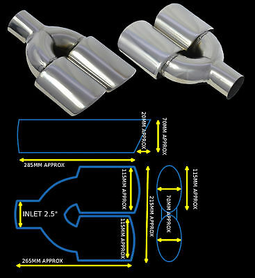 Universal Stainless Steel Exhaust Tailpipe Dual Twin Yfx-0351-Sp  Tlb