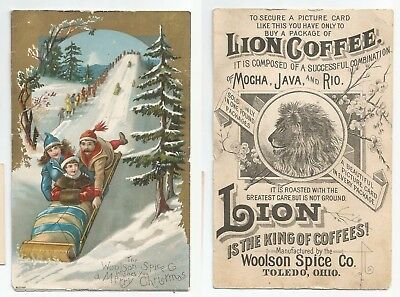 Large 1880s Trade Card Merry Christmas Woolson Spice Co Toledo Ohio LION COFFEE