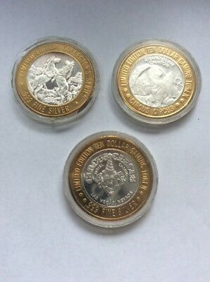 3 Limited Edition 999 Fine Silver $10 Gaming Tokens, 111.2g
