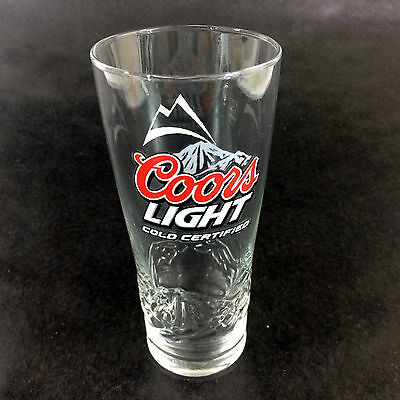 Coors Light Beer Glass Cold Certified 16oz Pint Pub Barware Turns Blue When Cold