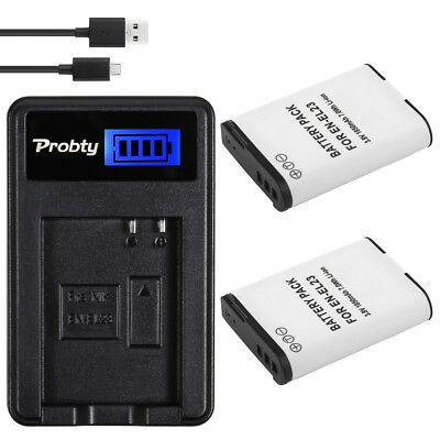 PROBTY EN-EL23 Battery +LCD Charger for Nikon COOLPIX P600 P610 P900 p610s p990s