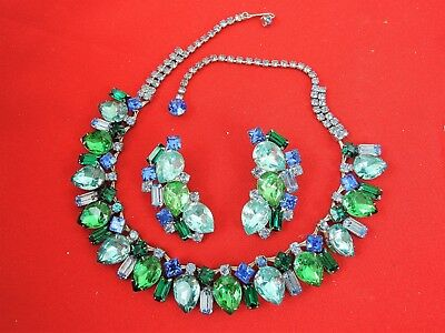 Chunky Vintage Blue~Green Rhinestone Collar Necklace & Clip Earrings*gorgeous!