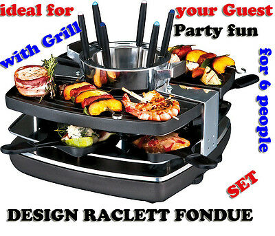 Gastroback Design Raclette Fondue Grill Set 42559 for 6 people thw Party Fun NEW