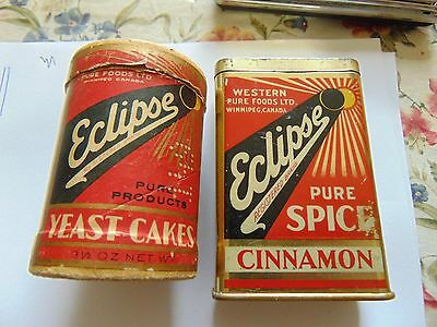 Eclipse Brand Yeast Cakes Cardboard And Cinnamon Tin Rare Empty Containers