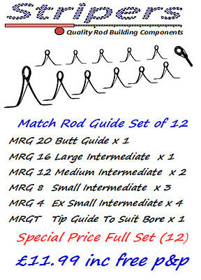 Rod Building & Repair. High Quality Match Rod Guides Rings (12) NOW £9.99