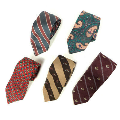 #15 Mixed Lot of 5 Vintage Men's Dresswear Color, Mixed Patterned Neck Ties