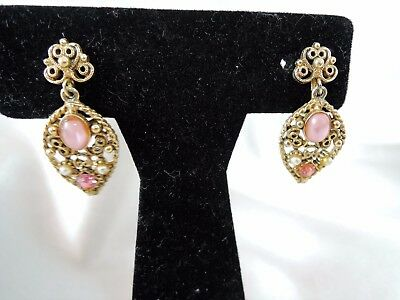 VINTAGE signed FLORENZA FILIGREE GLASS & RHINESTONE DANGLE CLIP EARRINGS!